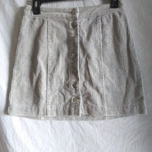 Charlotte Russe Sz S Skirt Gray Corduroy Button Up